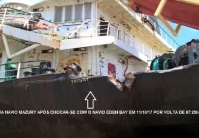 Colisão entre navios em Fazendinha compromete entrega de carga e expõe o risco de danos ambientais e a ameaça à vida humana
