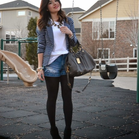 STRIPES AND DISTRESSED DENIM SHORTS
