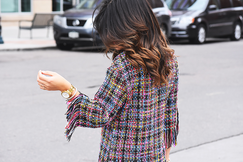 Multi color dress with tassels via Shein