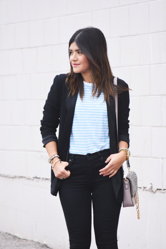 black blazer and black jeans
