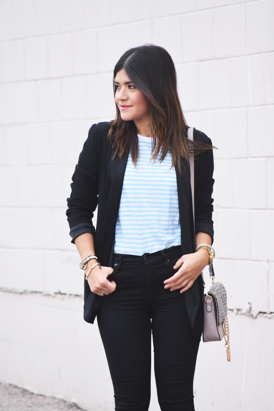 black blazer and black jeans