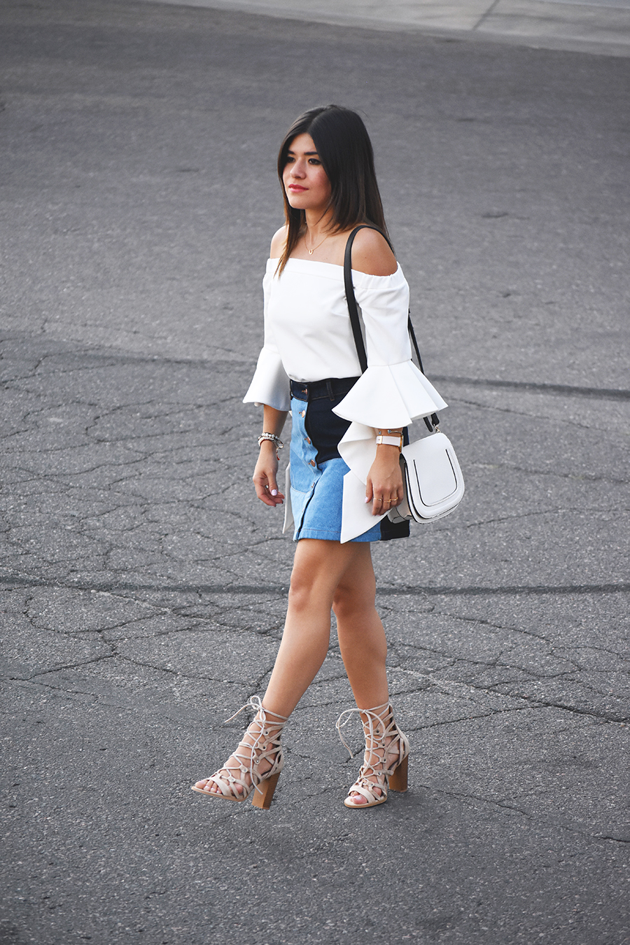 H&M denim patch skirt