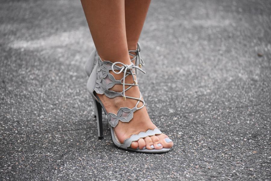 Public desire gray lace up sandals