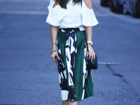 PLEATED MIDI SKIRT AND COLD SHOULDER TOP by popular Denver fashion blogger Chic Talk