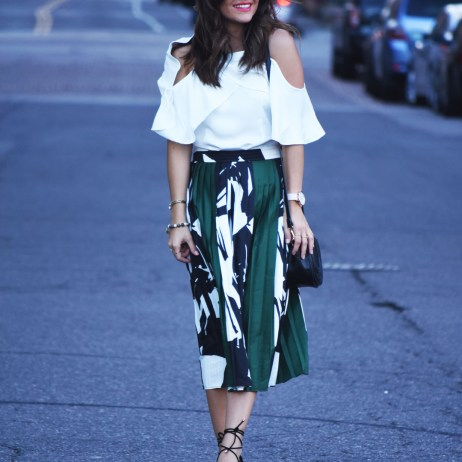 PLEATED MIDI SKIRT AND COLD SHOULDER TOP