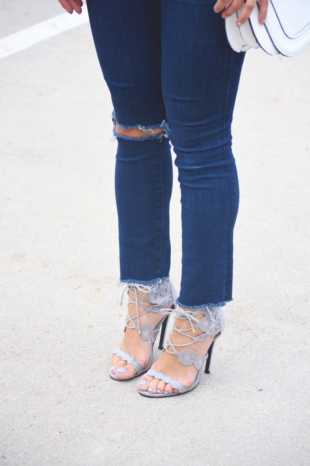 Madewell ripped jeans, and Public Desire grey lace up heeled sandals