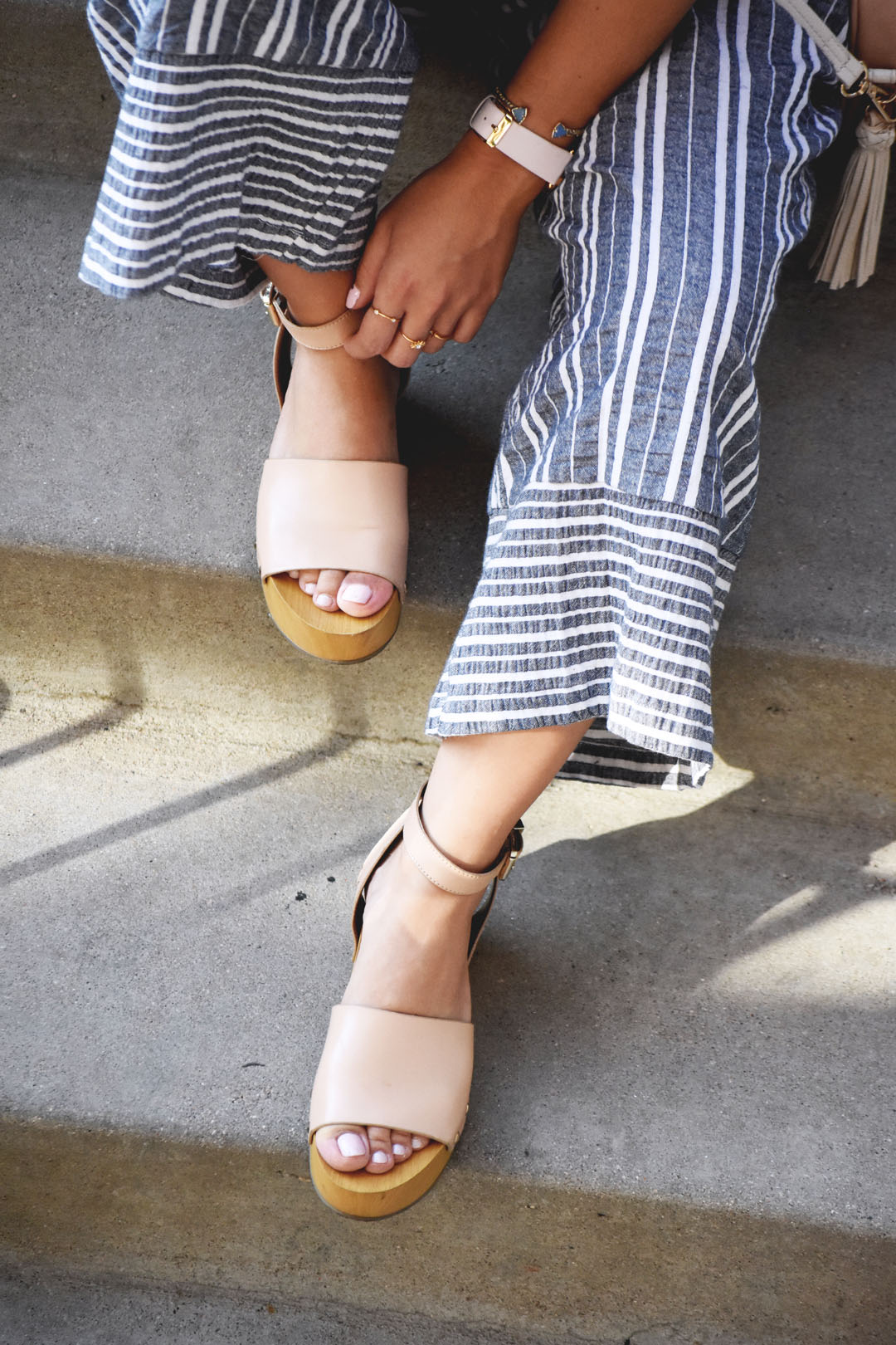 Sam Edelman beige platforms, Abbot lyon pink watch, and a Kendra Scott gold bracelet