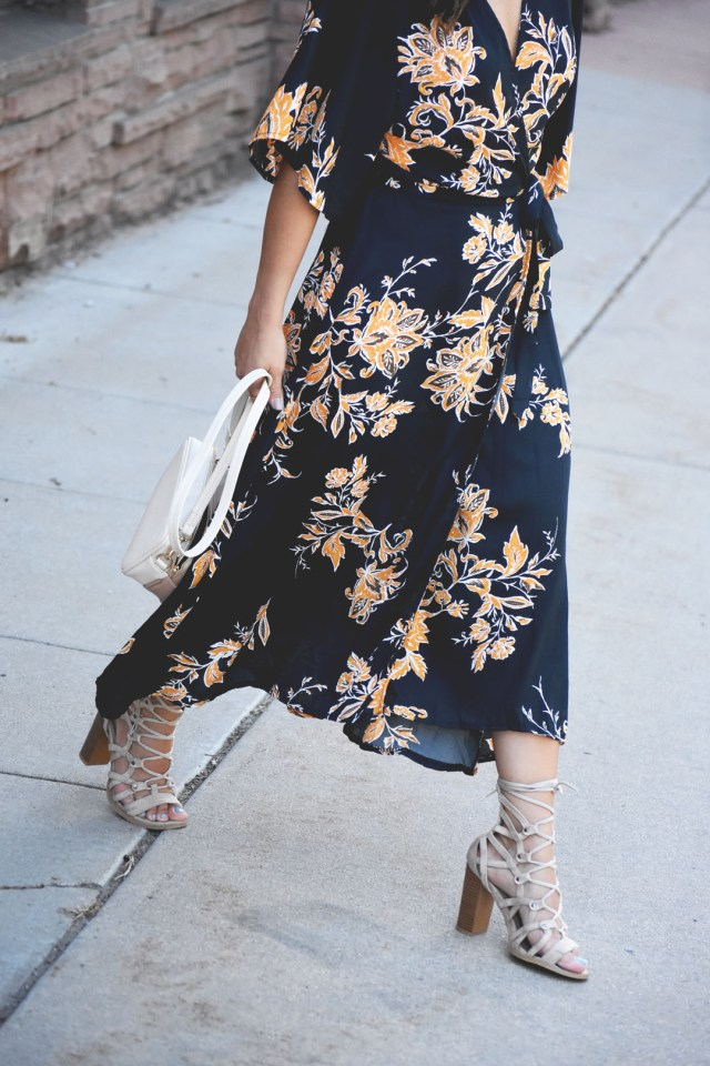 SheIn summer floral wrap dress and Lasula beige lace up sandals