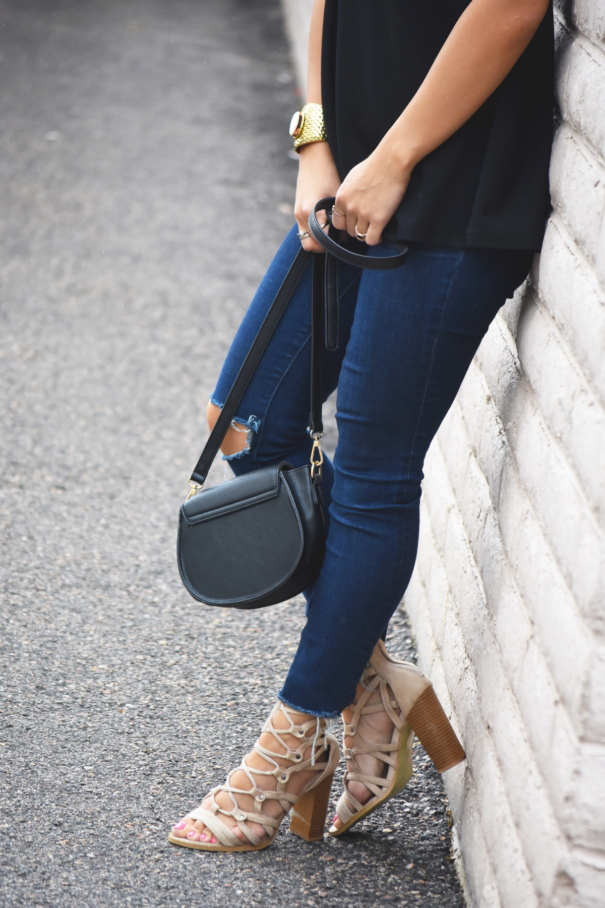 Lace up sandals and madewell jeans