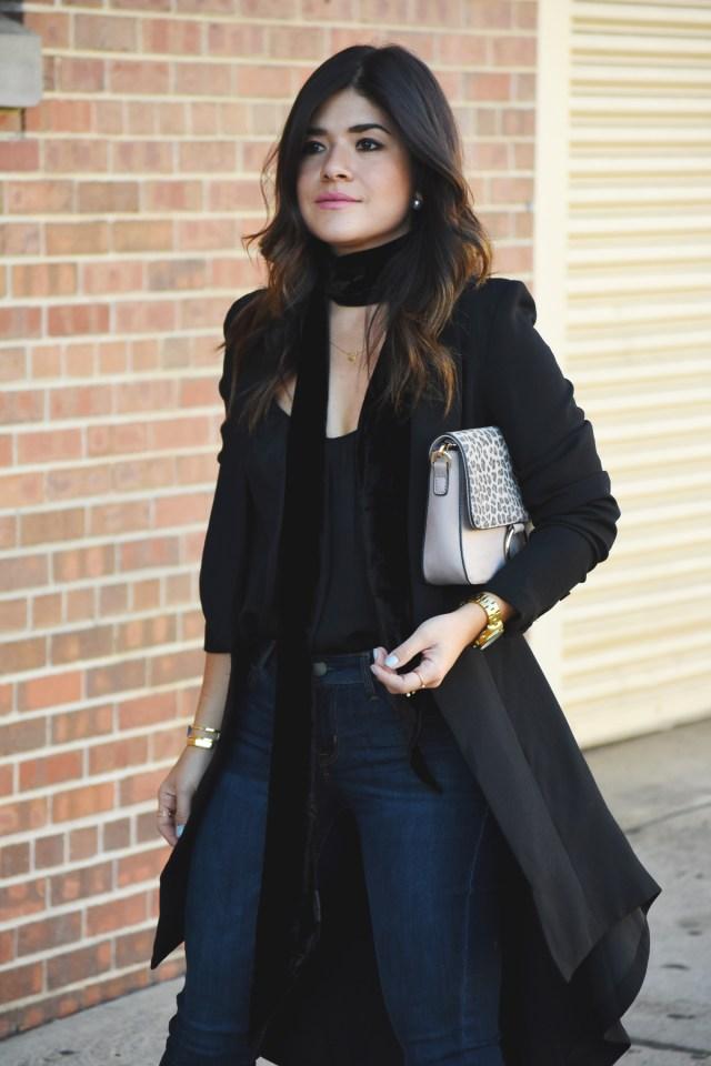 Carolina Hellal of Chic Talk wearing a Tobi black blazer, h&m chiffon top, and Old Navy skinny rockstar jeans