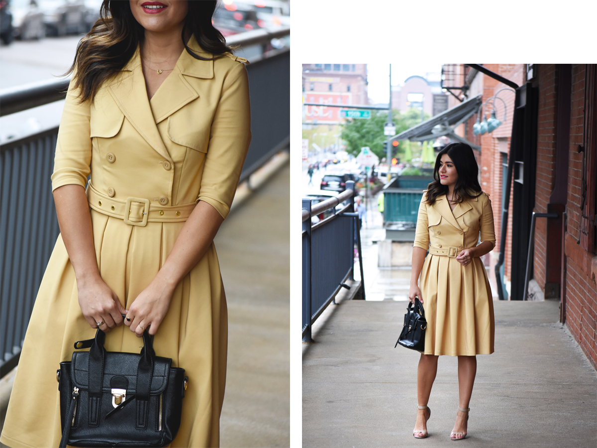 Carolina Hellal of Chic Talk wearing a Chicwish trench dress, Mellow world handbag, and beige strap sandals