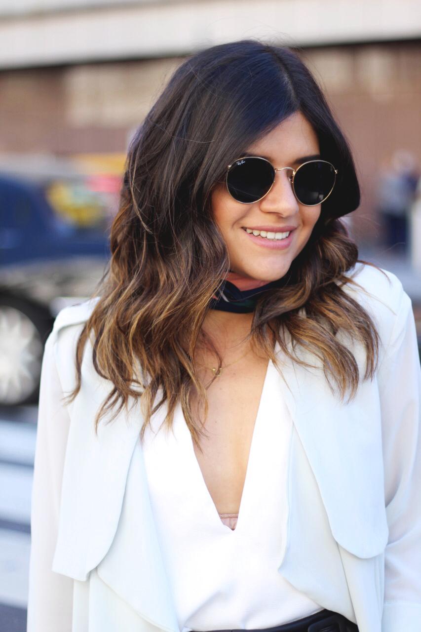 Carolina Hellal of Chic Talk wearing a Chicwish chiffon cardigan, H&M printed narrow scarf, Tobi white top and Rayban rounded 50mm sunglasses.