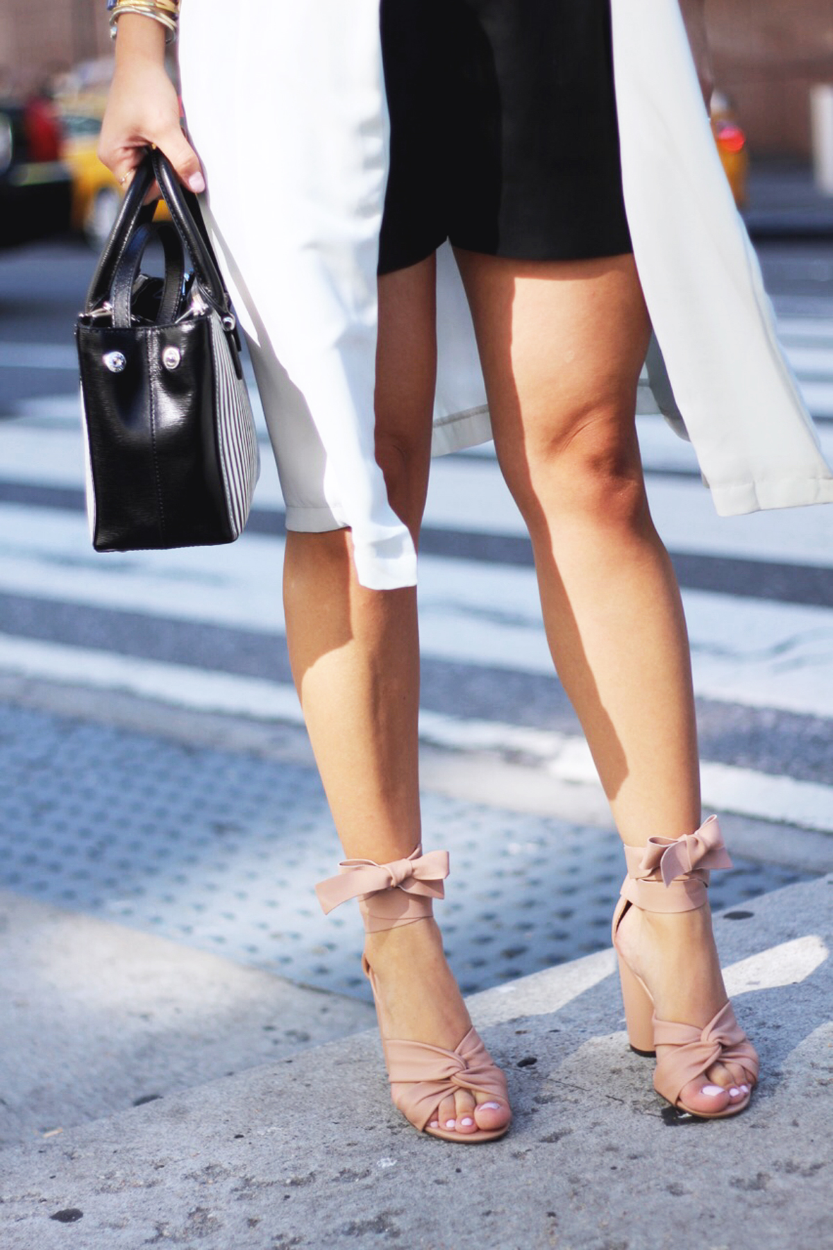 Ralph Lauren black and white stripe bag, Zara faux leather shorts, and Topshop blush sandals.