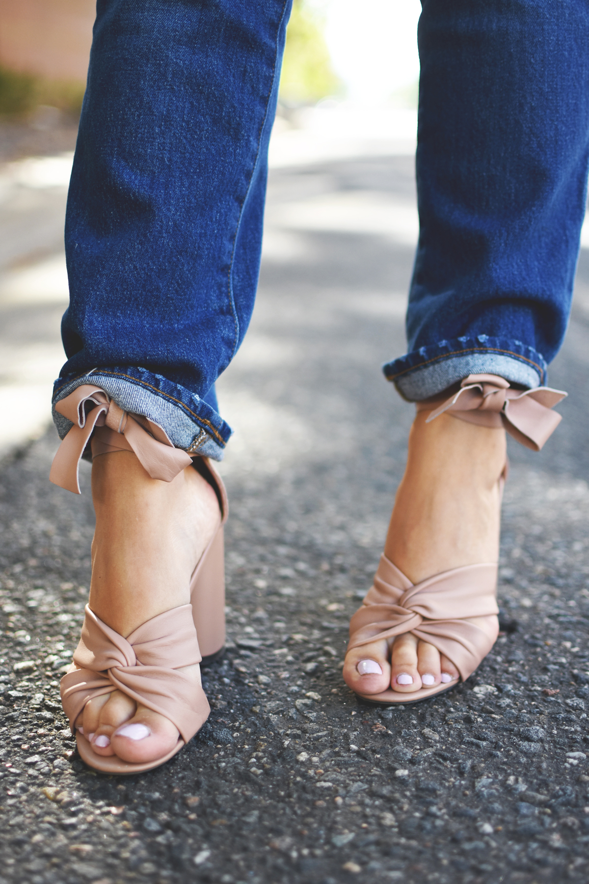 Madewell jeans, and topshop blush lace up sandals