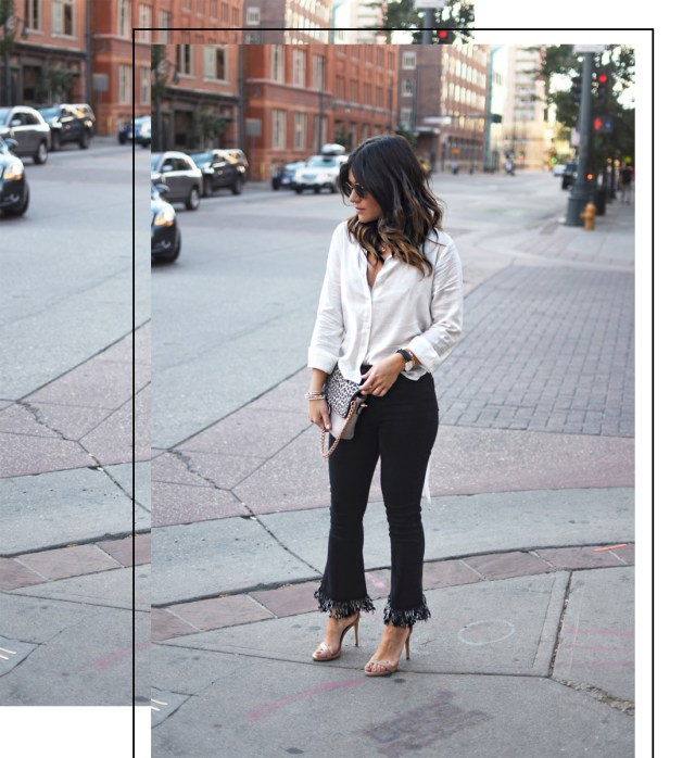 Carolina Hellal of Chic Talk wearing Dezzal frayed jeans, Chicwish open back top and Steve Madden strap nude sandals.