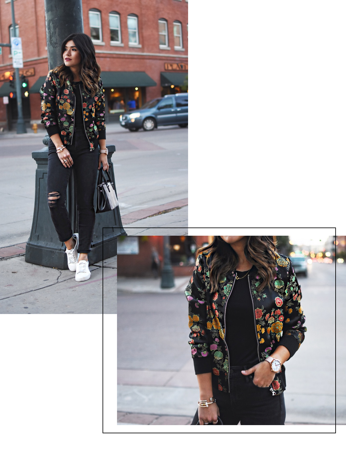 Carolina Hellal of Chic Talk wearing a VIPme floral bomber jacket, Madewell jeans and H&M white sneakers.