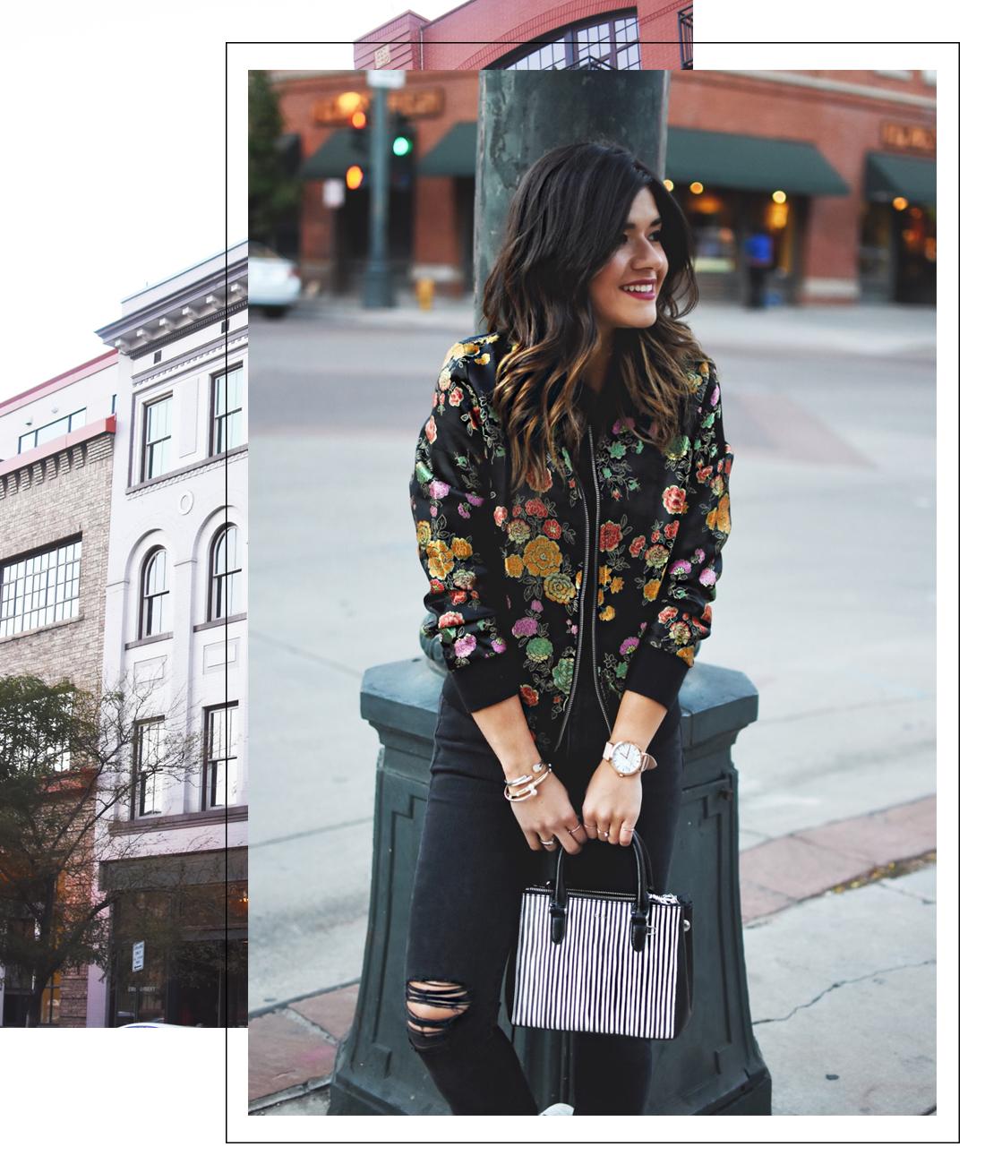 Carolina Hellal of Chic Talk wearing a VIPme floral bomber jacket