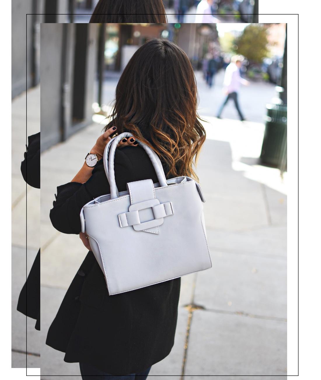 Carolina Hellal of Chic Talk wearing a VIPme faux leather grey bag