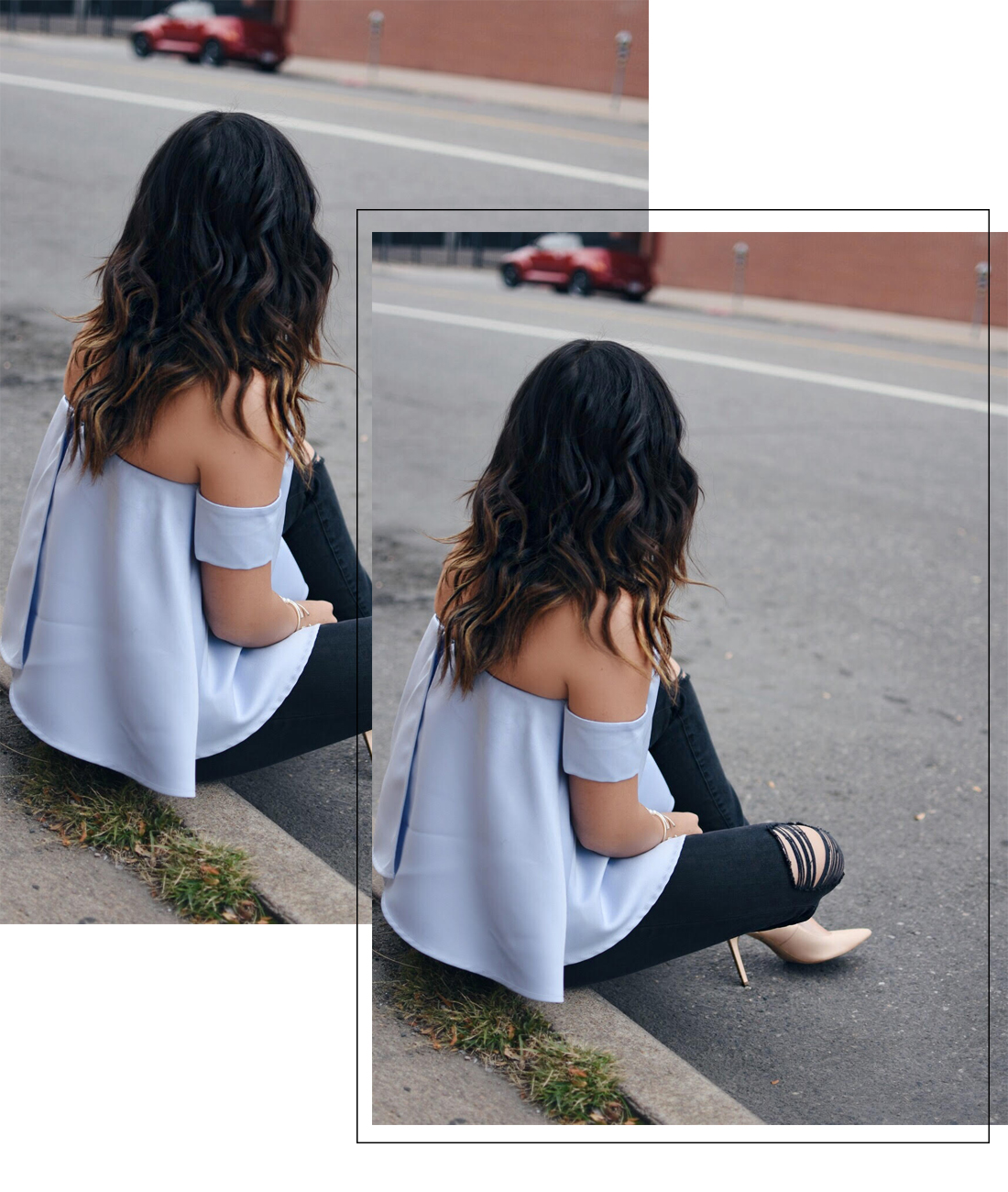 Carolina Hellal of Chic Talk wearing a Chicwish strapless top, madewell jeans and nude pumps