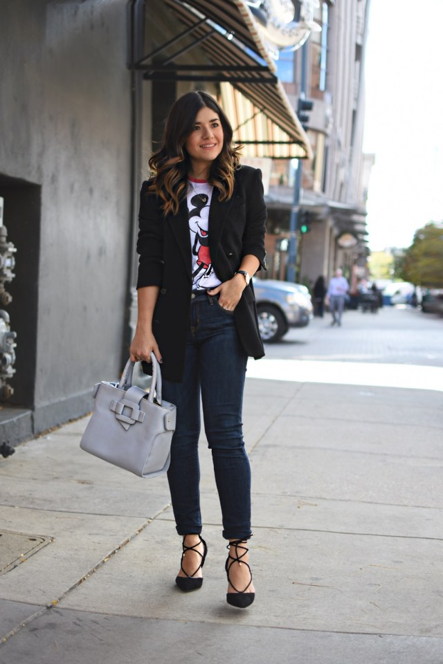 Carolina Hellal of Chic Talk wearing a VIPme grey bag, Vintage black boyfriend blazer and Mickey Mouse t-shirt