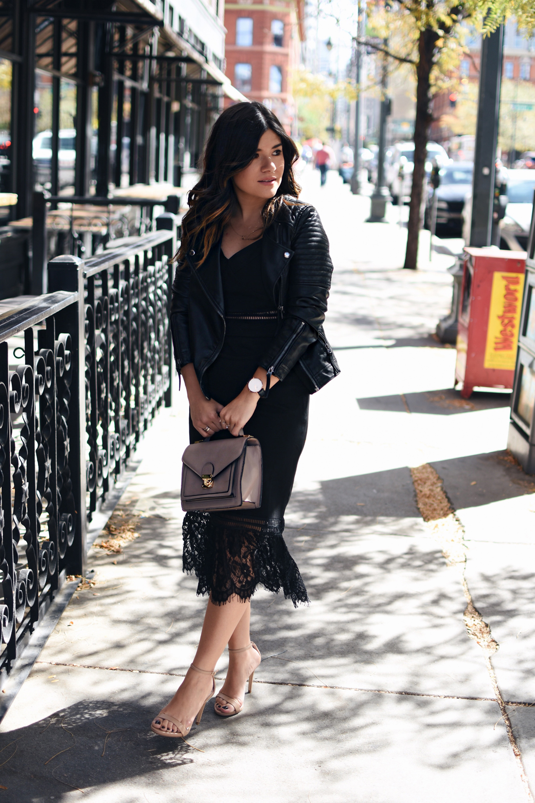 Carolina Hellal of Chic Talk wearing a Chicwish black lace dress, Topshop faux leather jacket, Mellow World bag and Steve Madden nude sandals