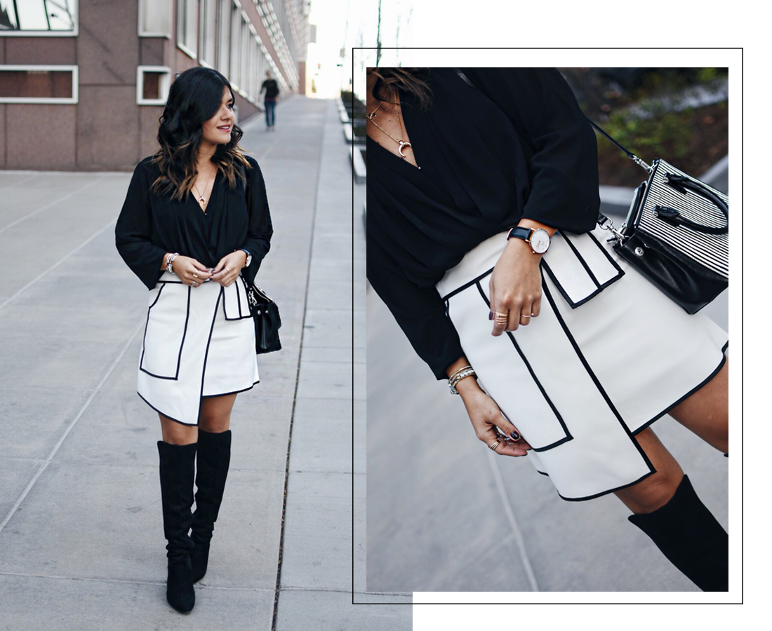 Carolina Hellal of Chic Talk wearing a white asymmetrical Chicwish skirt, Forever21 chiffon top and Suede Knee high boots.
