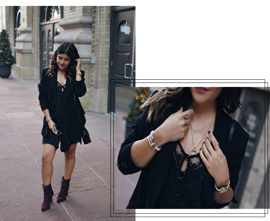 Carolina Hellal of Chic Talk wearing an American Eagle black dress, h&m black blazer, Nine West burgundy booties, and Marc Jacobs watch.