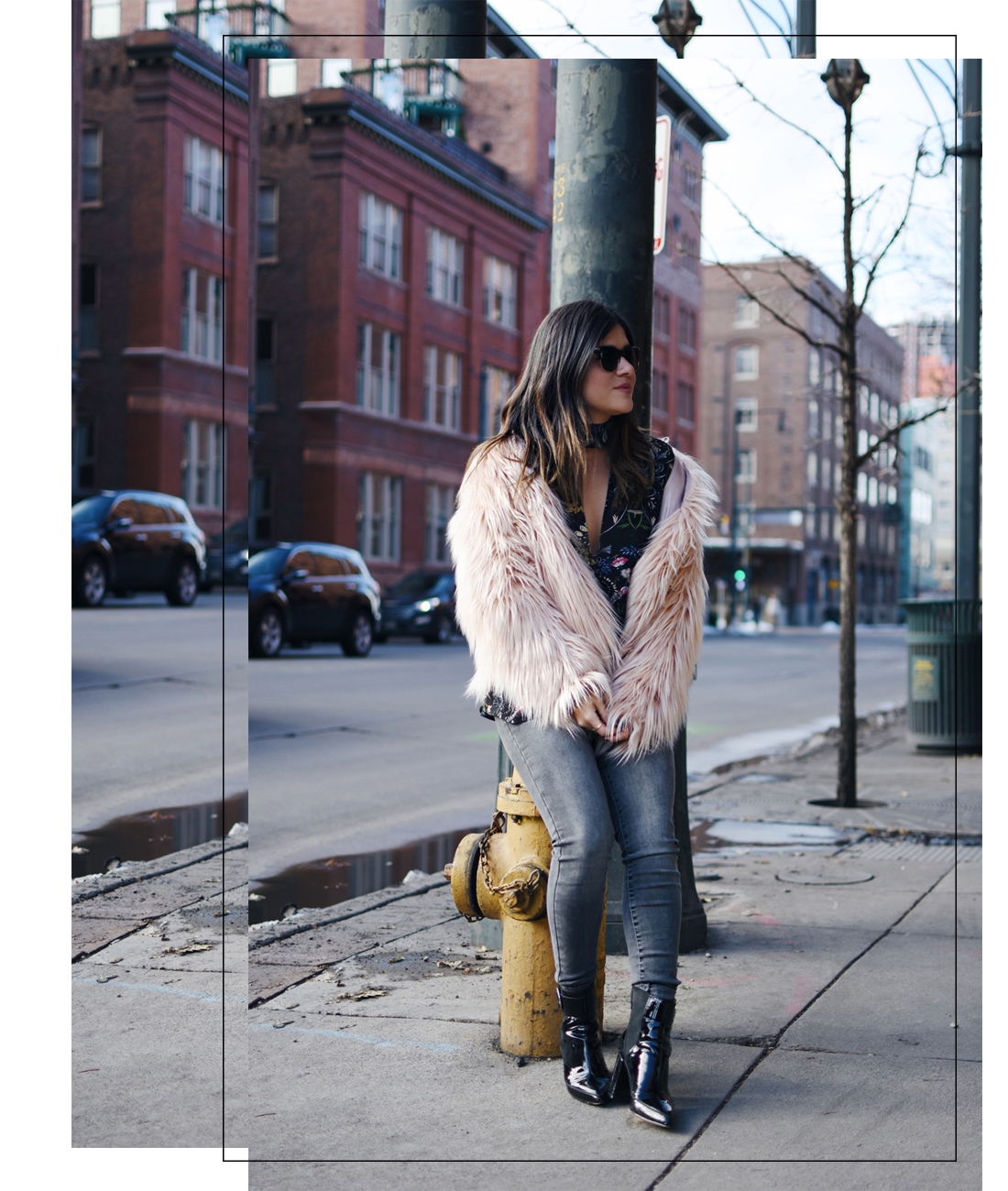 Carolina Hellal of Chic Talk wearing a floral chiffon top, a furry coat and Madewell jeans.