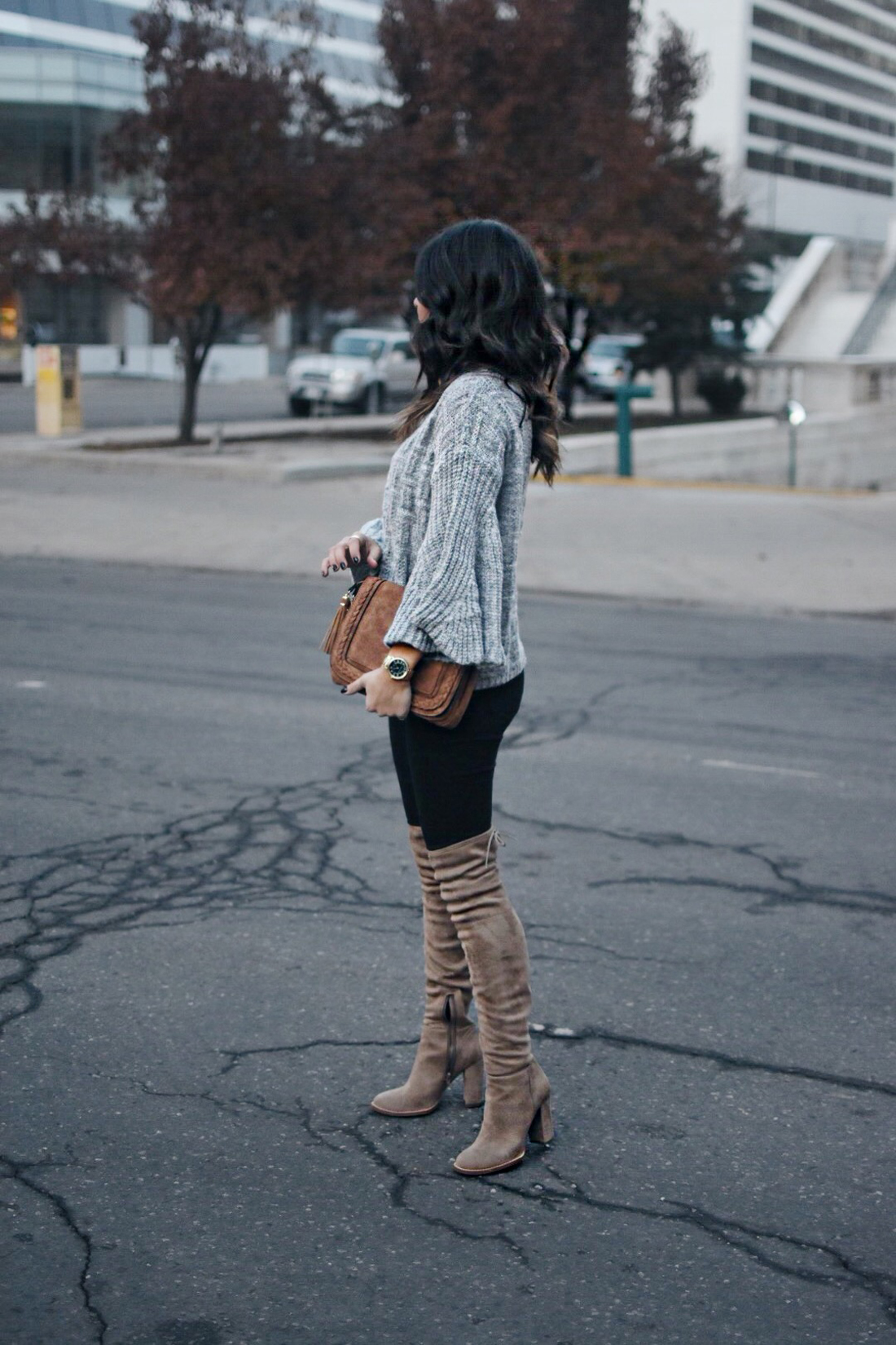 Carolina hellal of Chic Talk wearing Vince camuto over the knee boots
