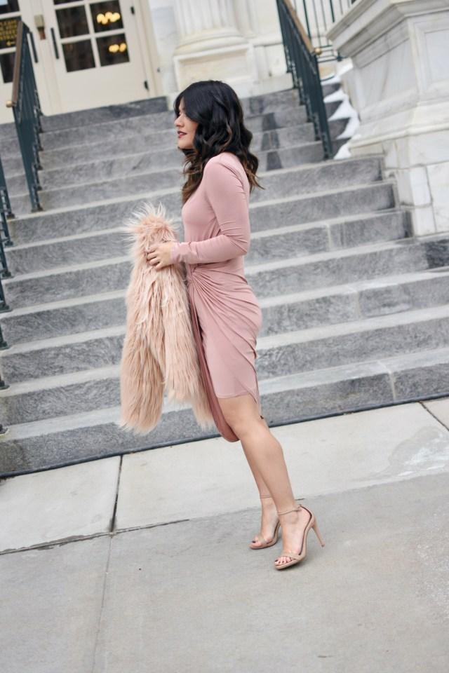 Carolina Hellal of Chic Talk wearing a Revolve blush dress, Shein faux fur coat, Steve Madden Sandals and H&M silver rings