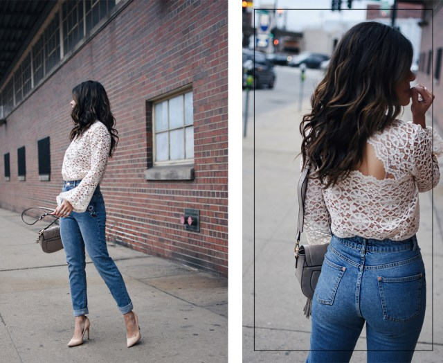 Carolina Hellal of Chic Talk wearing mom jeans, lace top, Sam Edelman nude pumps and a Moda Luxe nude bag