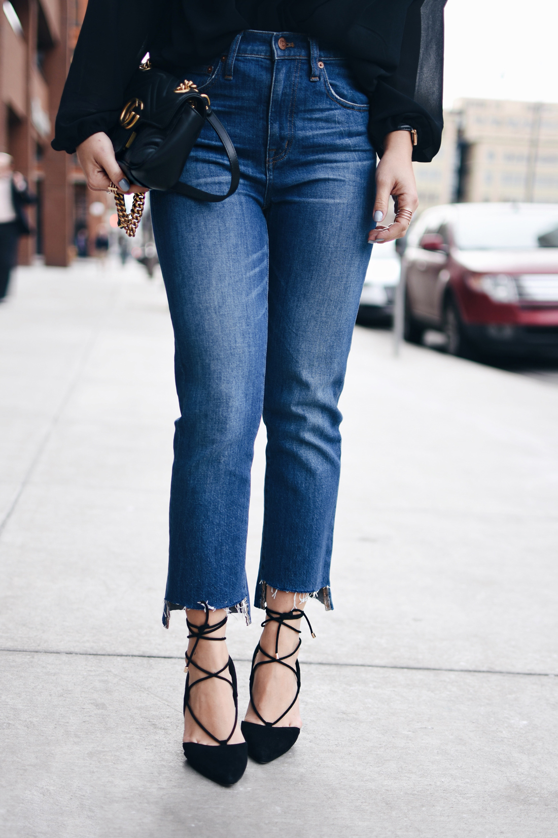Madewell raw hem jeans and Aldo lace up pumps