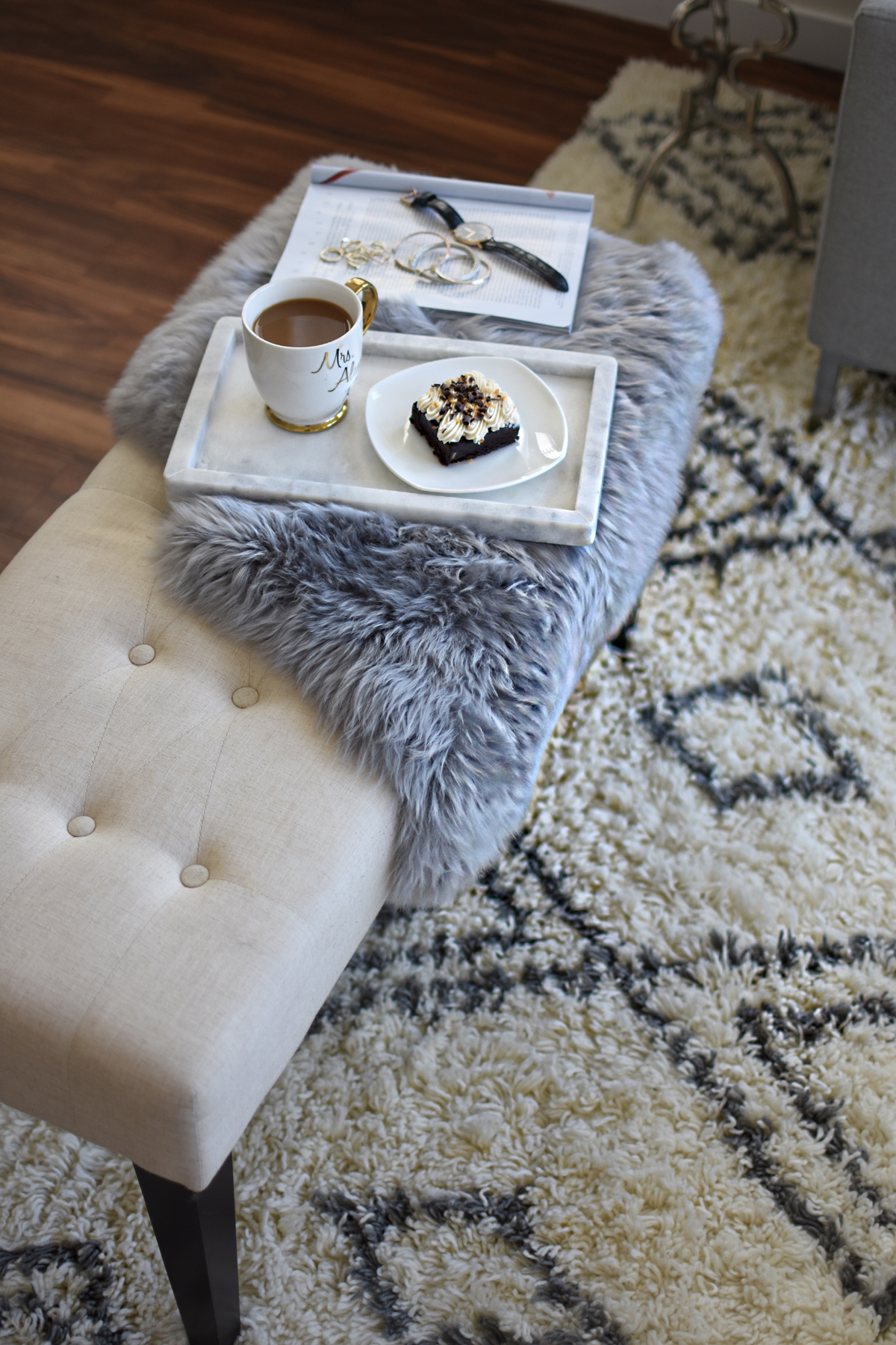 Living room decoration ideas featuring product from Article. The Taza rug, Velu pillows and Lanna throw