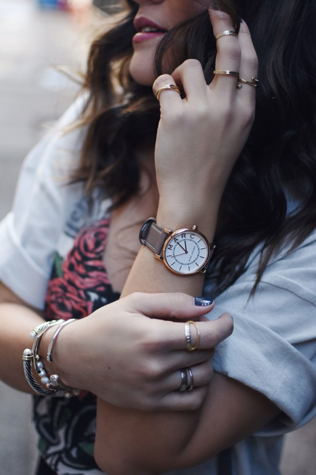 Marc by Marc Jacobs watch and Kendra Scott gold earrings