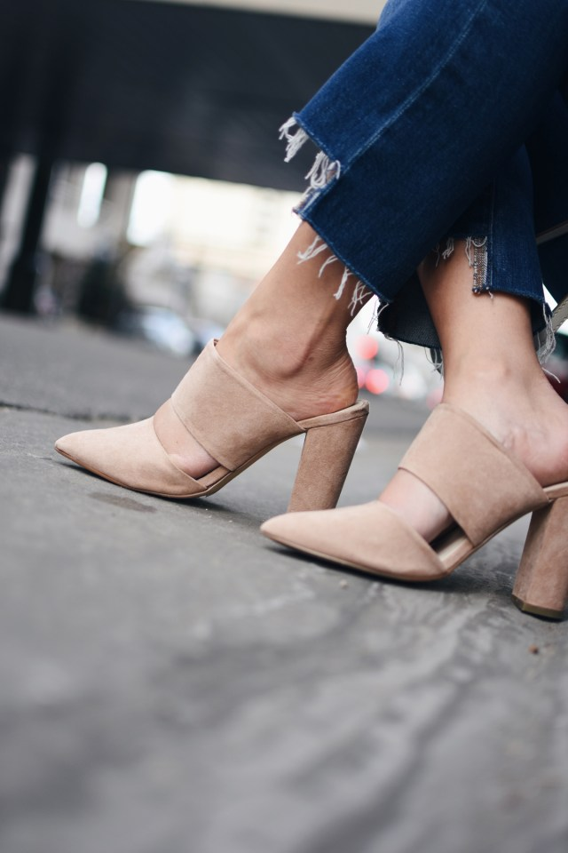 NA-KD fashion nude mules and Madewell raw hem jeans