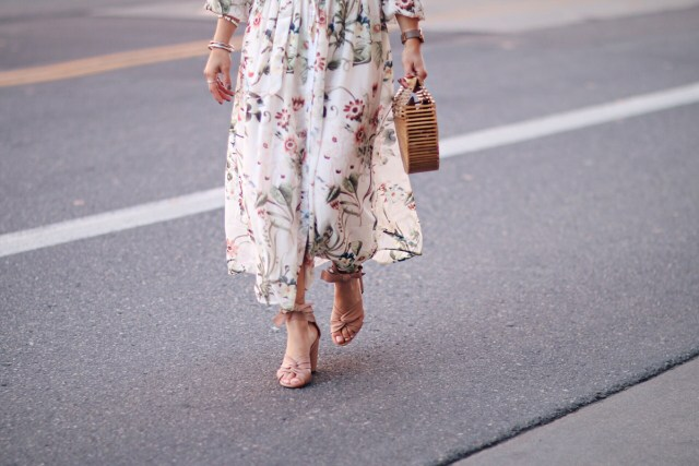Carolina Hellal of Chic Talk wearing a Shein chiffon floral dress, Topshop blush lace sandals, Cultgaia Ark bag and Marc Jacobs watch