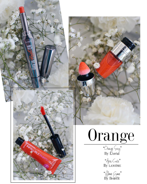 Ulta beauty lips in bloom trend. Lipsticks in pink, orange, magenta and pink rose