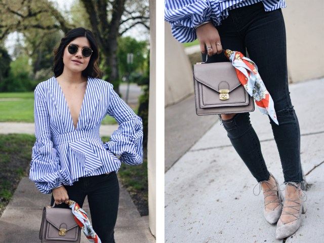 Carolina Hellal wearing a Shein stripe top, Madewell jeans, chinese laundry lace up shoes and rayban sunglasses