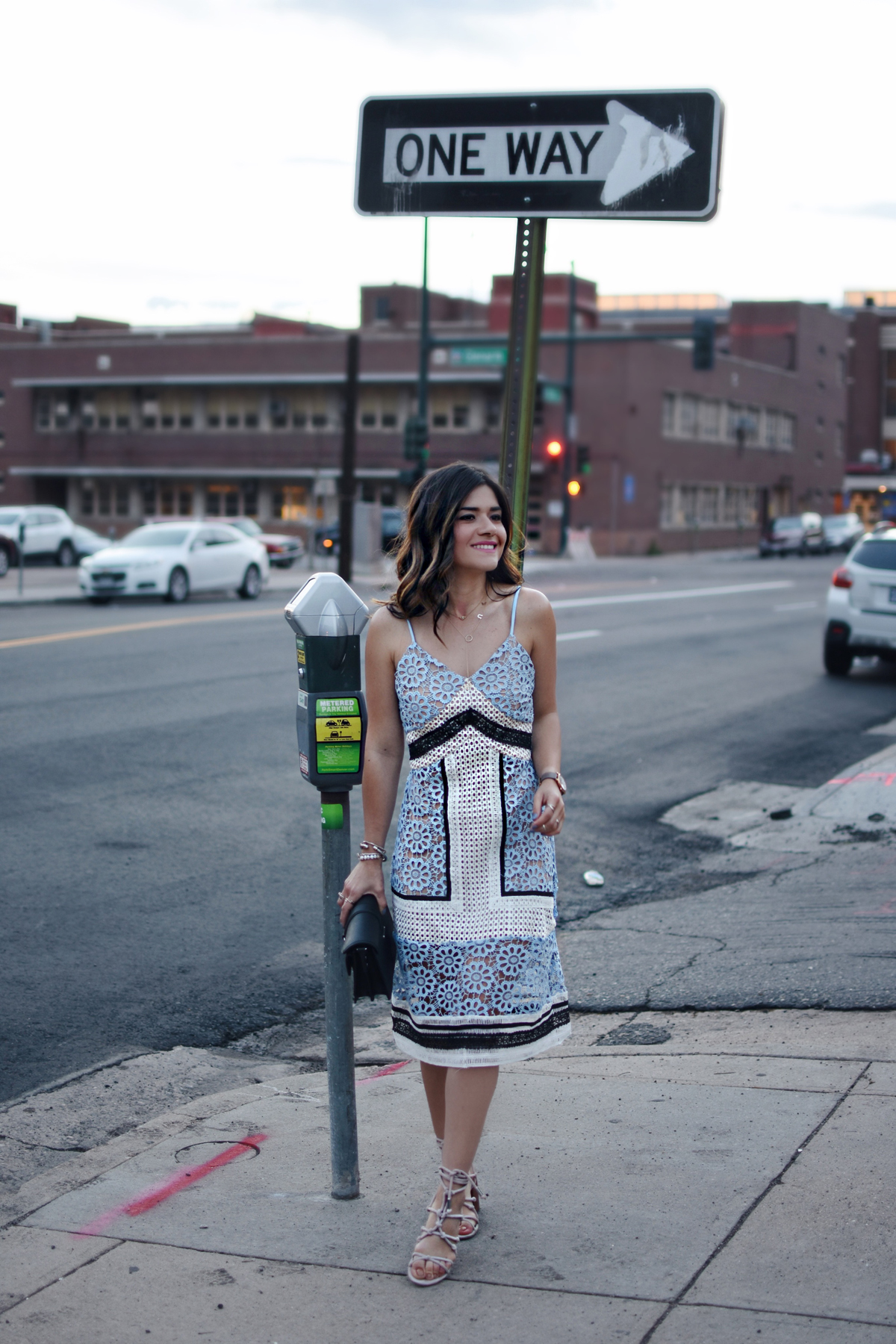 Carolina Hellal of Chic Talk wearing an Endless Rose contrast lace dress via Shopbop, Rebecca Minkoff Sandals and bag and a Marc Jacobs watch.