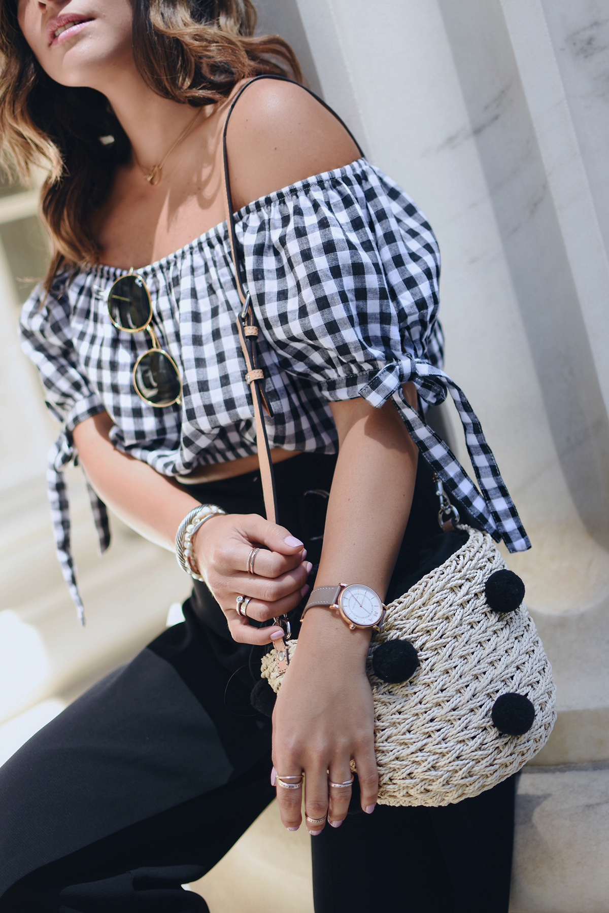Carolina Hellal of Chic Talk wearing a Missguided gingham top, topshop pants, forever 21 sandals and Rebecca Minkoff bag