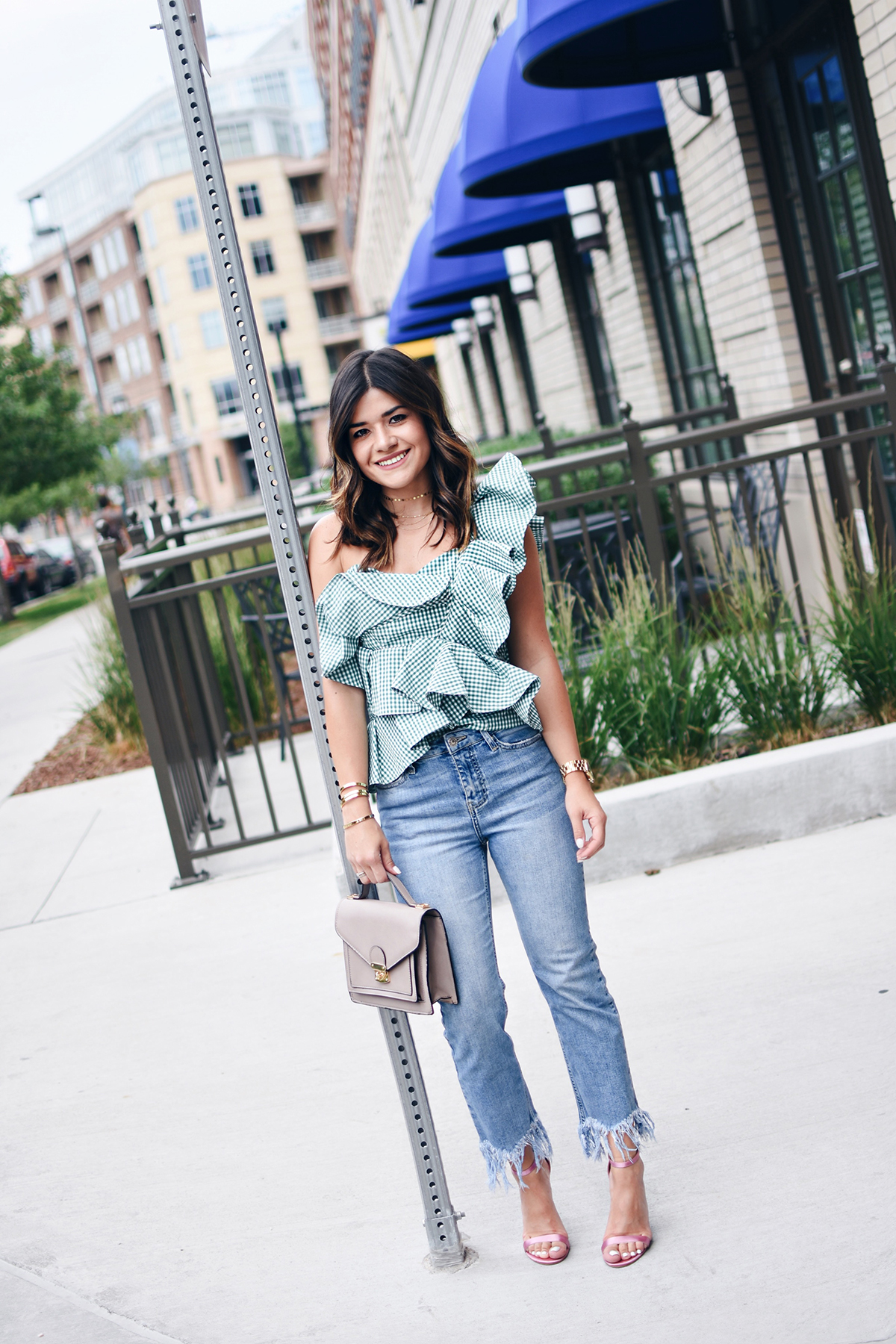 Carolina Hellal of Chic Talk wearing a Stylekeepers ginghan green top, topshop fringe jeans and public desire metallic sandals