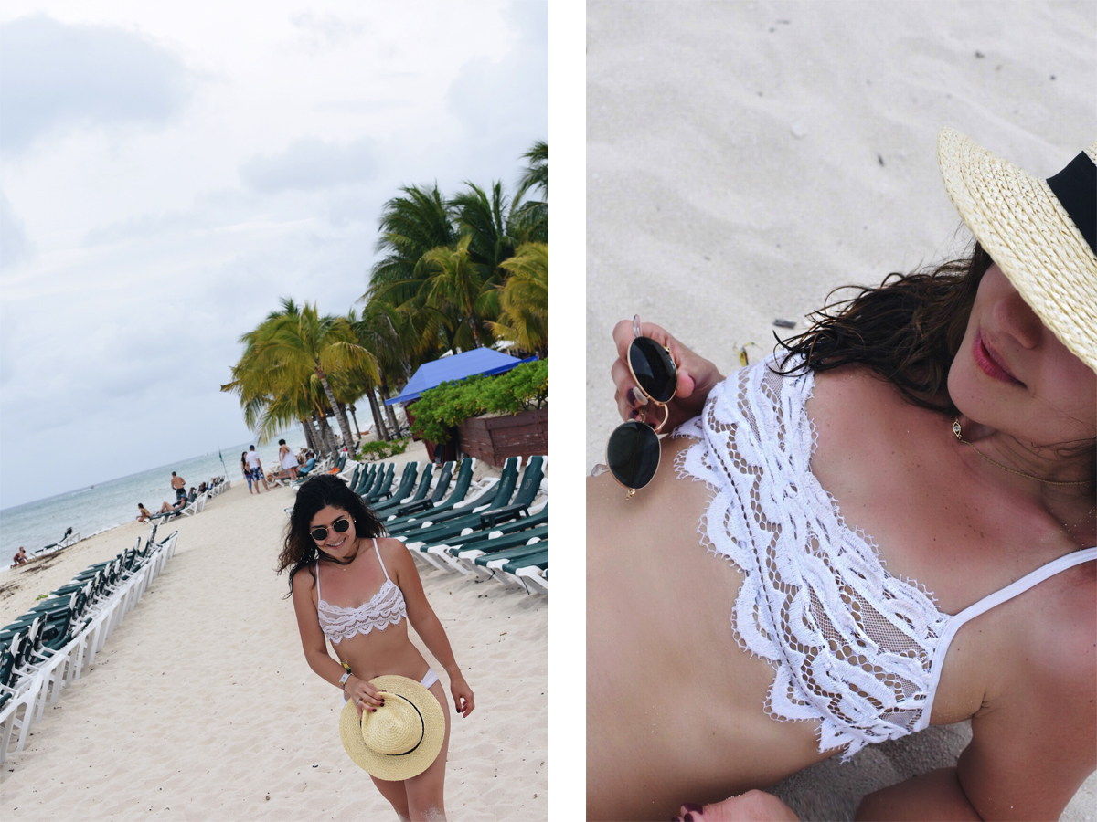 Carolina Hellal of Chic Talk wearing a PiliQ white lace bikini, target straw hat and ray ban sunglasses