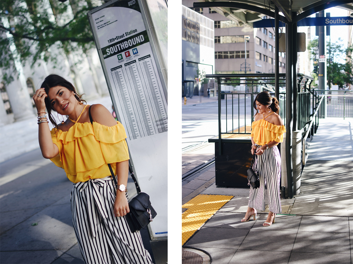 Carolina Hellal of Chic Talk wearing an H&M top, Zara pants, Public Desire sandals and Rebecca Minkoff bag