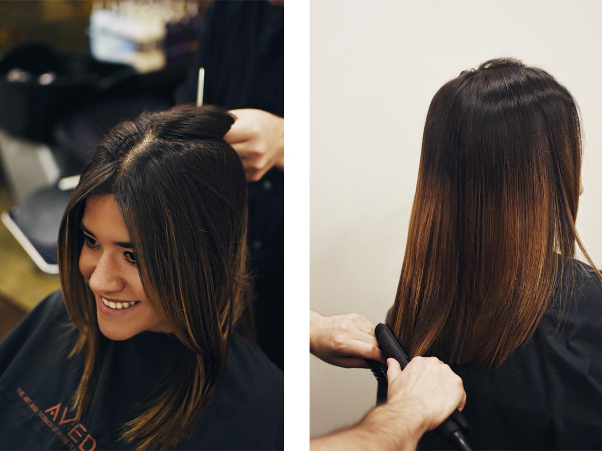 Carolina Hellal of Chic Talk getting her hair done at Vida Salon