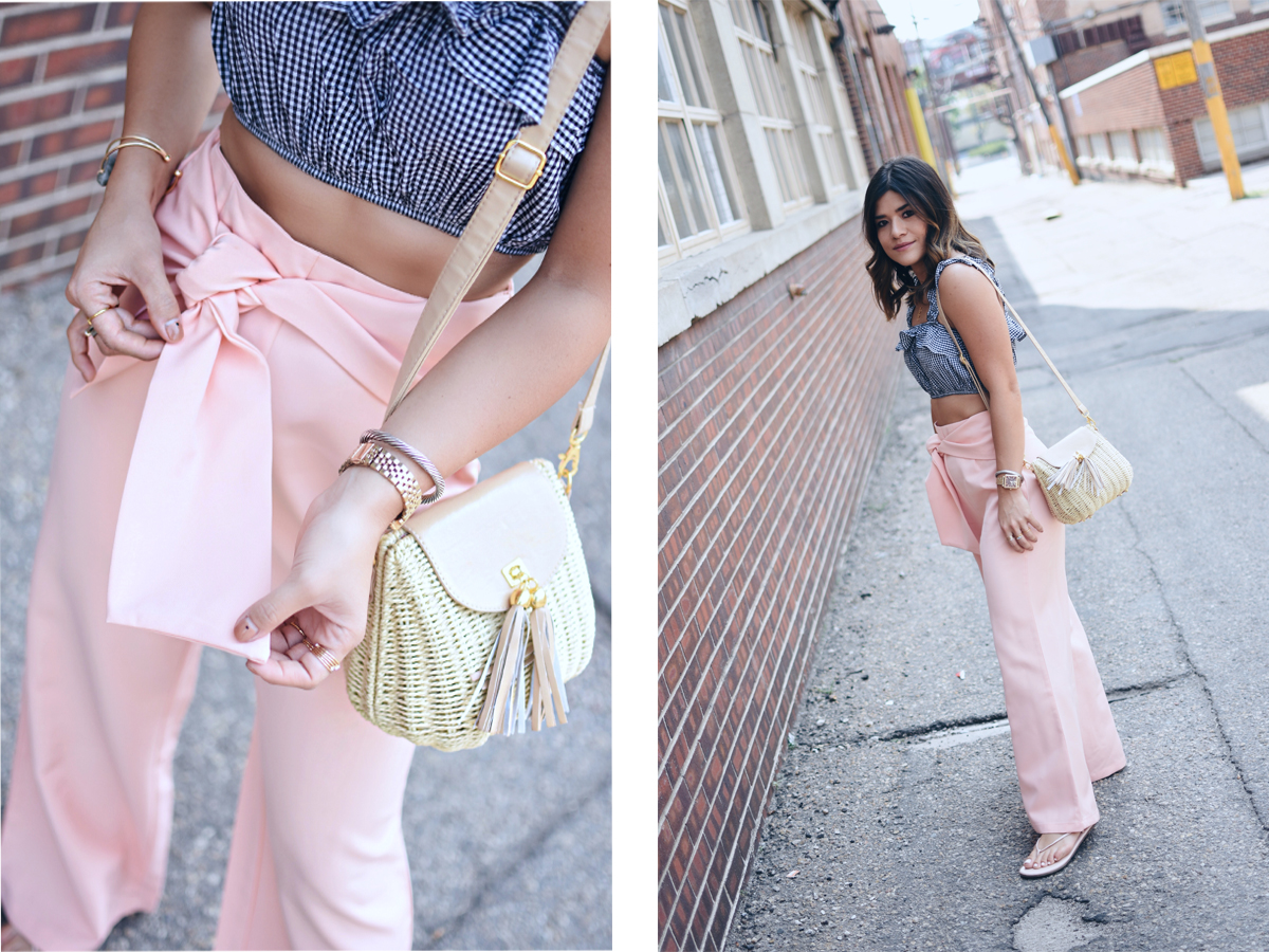 Carolina hellal wearing shein pink pants, gingham top, and Amazon fashion straw bag