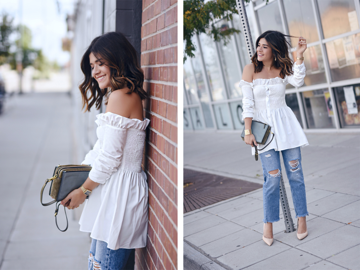Carolina Hellal of Chic Talk wearing a chicwish off the shoulder white top, H&M straight jeans, Sam Edelman pumps and Fossil crossbody bag