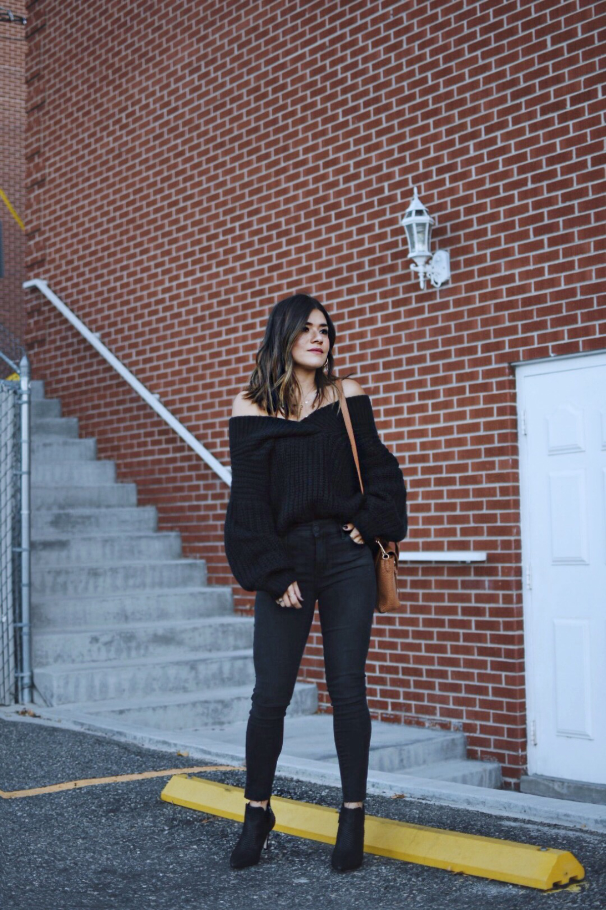 Carolina Hellal of Chic Talk wearing a shein knit sweater, topshop jeans, 3.1 phillip lim bag, johnston & Murphy boots and marc jacobs watch