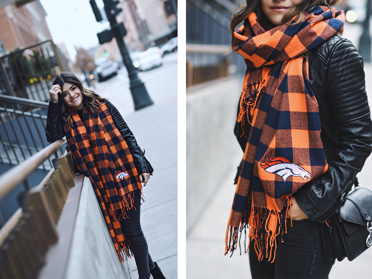 Carolina Hellal of Chic Talk wearing a Broncos scarf, madewell jeans, topshop faux leather jacket and rebecca minkoff bag