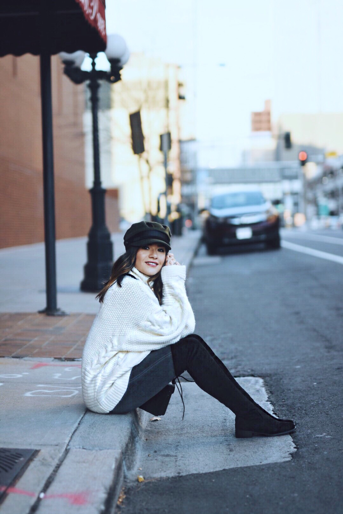 Carolina Hellal wearing a Shein cable knit sweater, madewell jeans, public Desire boots and asos hat