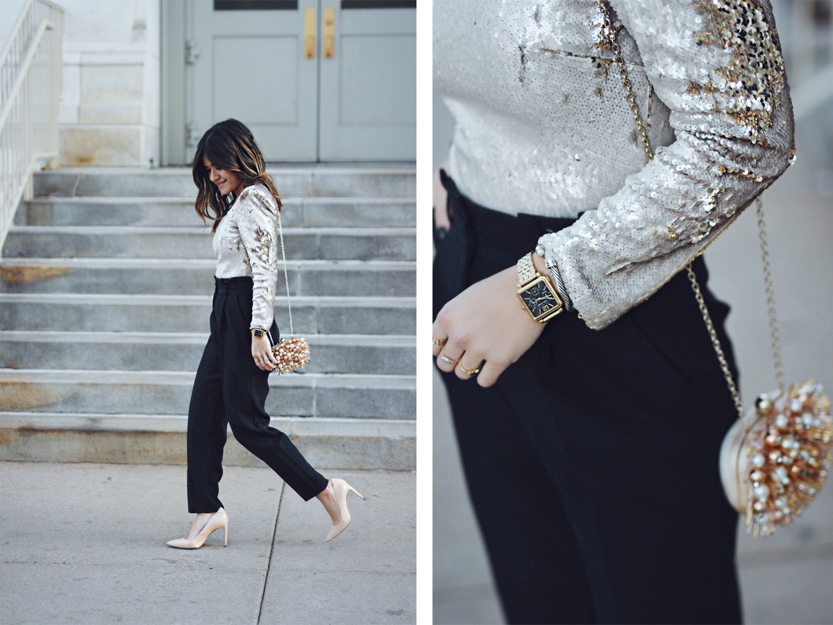 Carolina Hellal of Chic Talk wearing an ASTR gold bodysuit, Topshop pants, Sam Adelman nude pumps and Aldo clutch